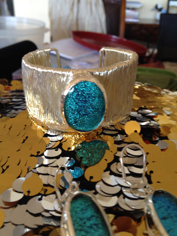 Turquoise Blue Dichroic Glass Cuff