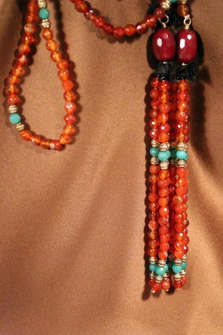 Carnelian and Stone Necklace with Gold-Plated Accents