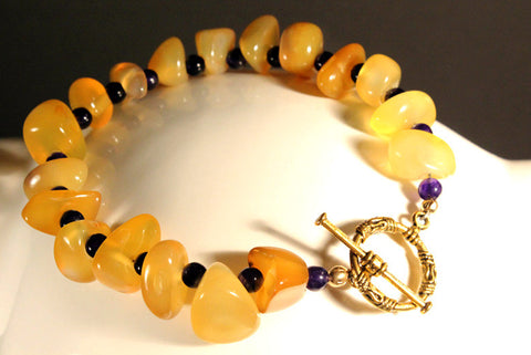 Black and Gold Earthy Stone Bracelet with Matching Earrings