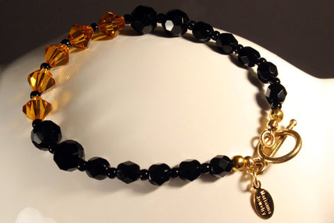 Elegant Jet Black Beaded Bracelet