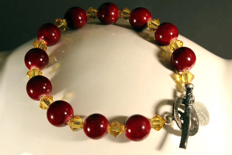 Red and Gold Team Spirit Bracelet with Matching Earrings