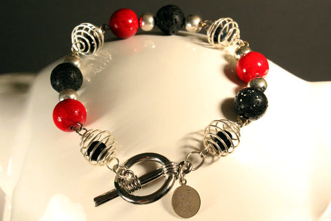 Spiral Lava and Red Stone Bracelet With Matching Earrings