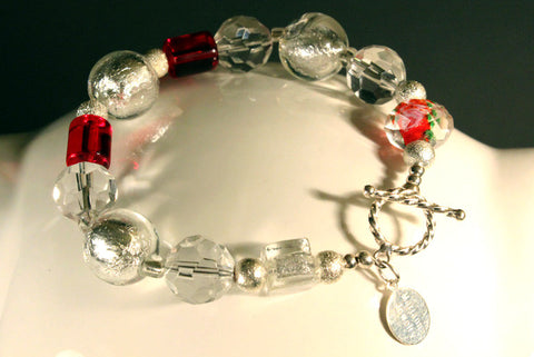 Clear Crystal and Red Beaded Bracelet