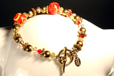 Cherry Red and Gold-Filled Vintage Look Bracelet