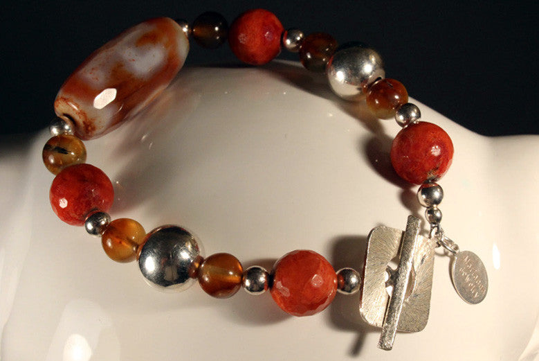 Sterling Silver and Apricot Bracelet