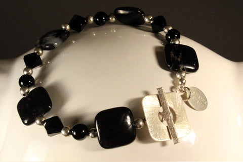 Black African Palm Sterling Silver Bracelet