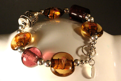 Grape and Amber European Glass Bracelet