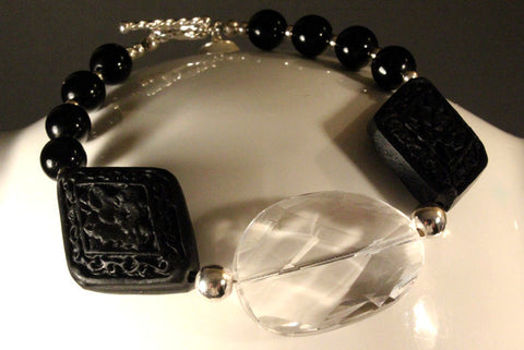 Black Cinnabar and Crystal Bracelet