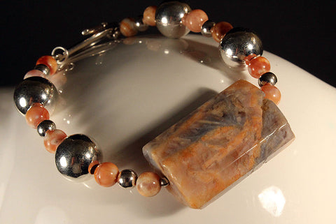 Sterling Silver and African Jade Bracelet