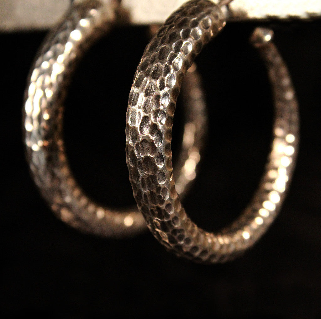 Hand Hammered Sterling Silver Hoops