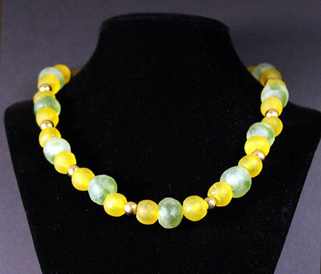 Lemon and Lime African Trade Bead Necklace
