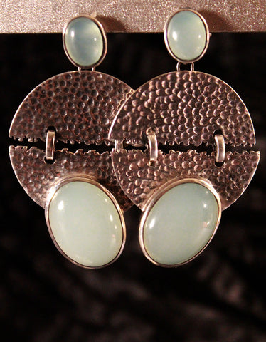 Hand-Crafted Chalcedony Sterling Silver Earrings