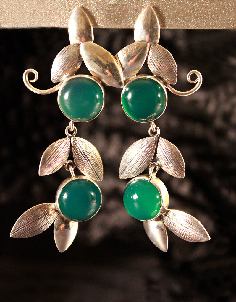 Green Floral Leaf Chandelier Earrings