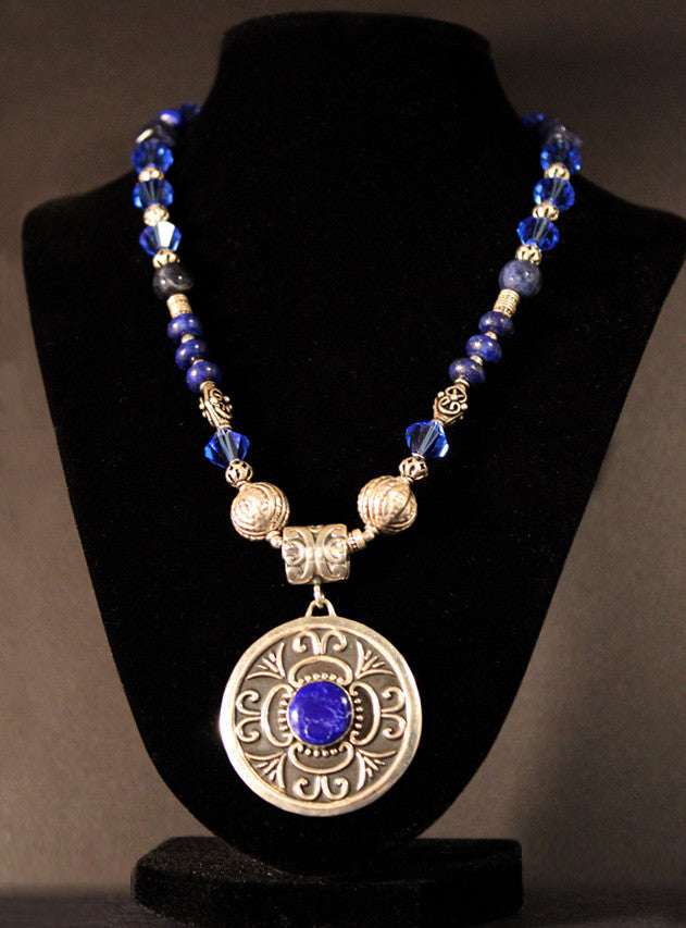 Lapis and Sterling Silver Pendant Necklace