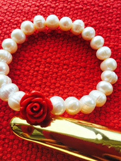 Hand Carved Alabaster Rose and River Pearl Bracelet