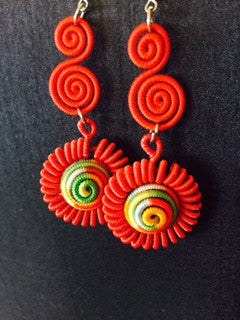 Flamingo Red Double Swirl Dangle Earrings