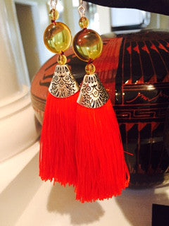 Sterling Silver and Long Red Silk, Tassel Earrings