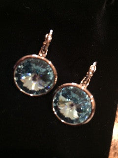 Sea Blue 14K White Gold over Sterling Silver Swarovski Crystal