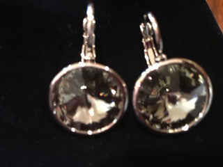 14K White Gold over Sterling Swarovski Crystals in Smokey Gray