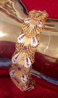 18K Yellow and White Gold Over Sterling Filigree Lace Bracelet