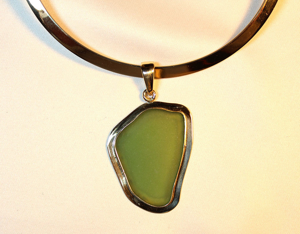 Sea Glass Necklace in Apple Green