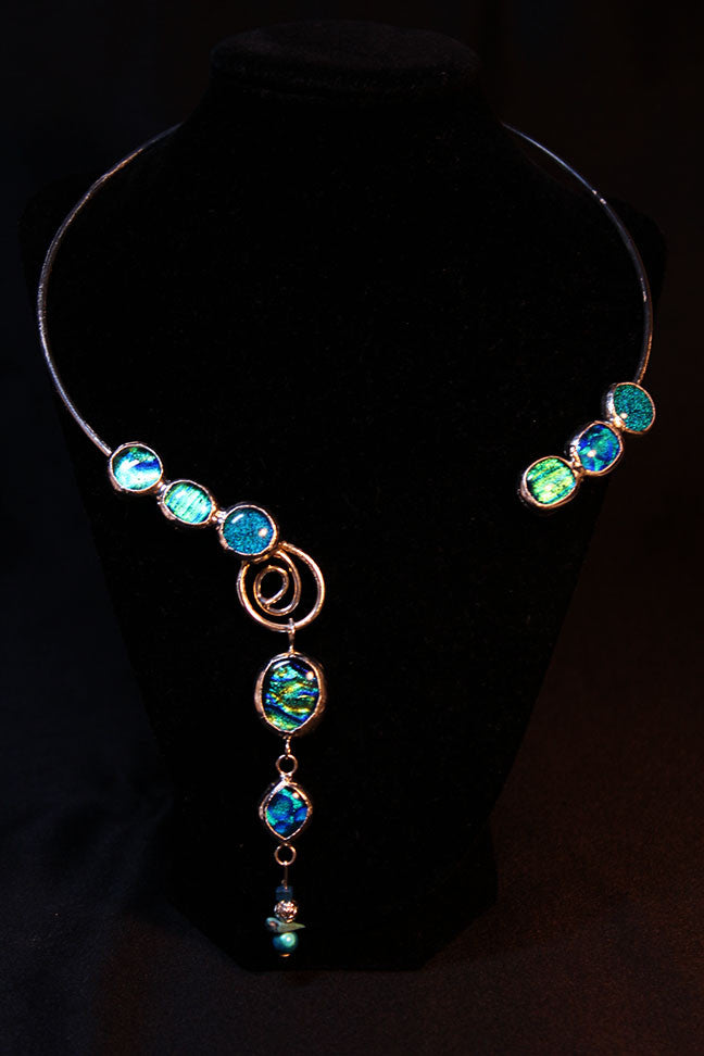 Turquoise Dichroic Glass Collar Necklace