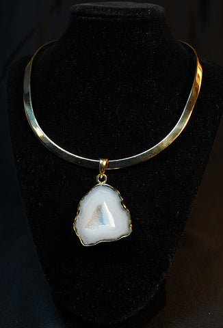 Smokey Gray Geode Pendant and Neck Wire