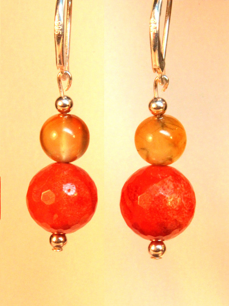 Coral and Carnelian Drops
