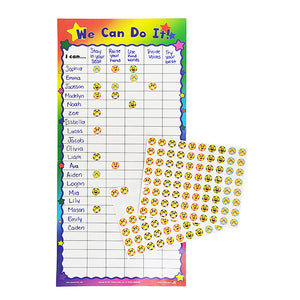 We Can Do It! Customizable Dry Erase Incentive Chart with Cling Stars!