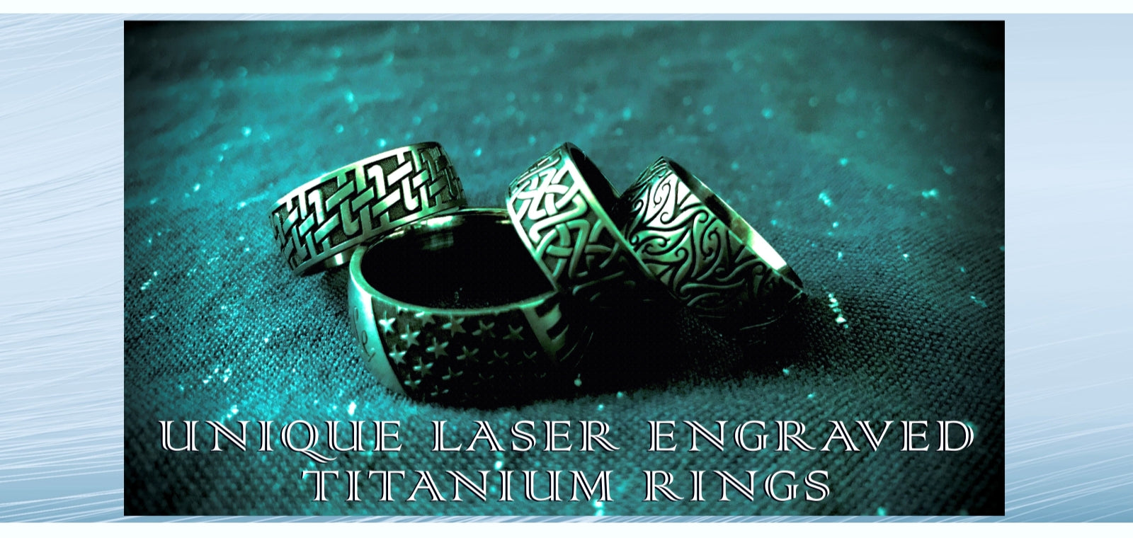 Unique Laser Engraved Titanium Rings and Wedding Bands