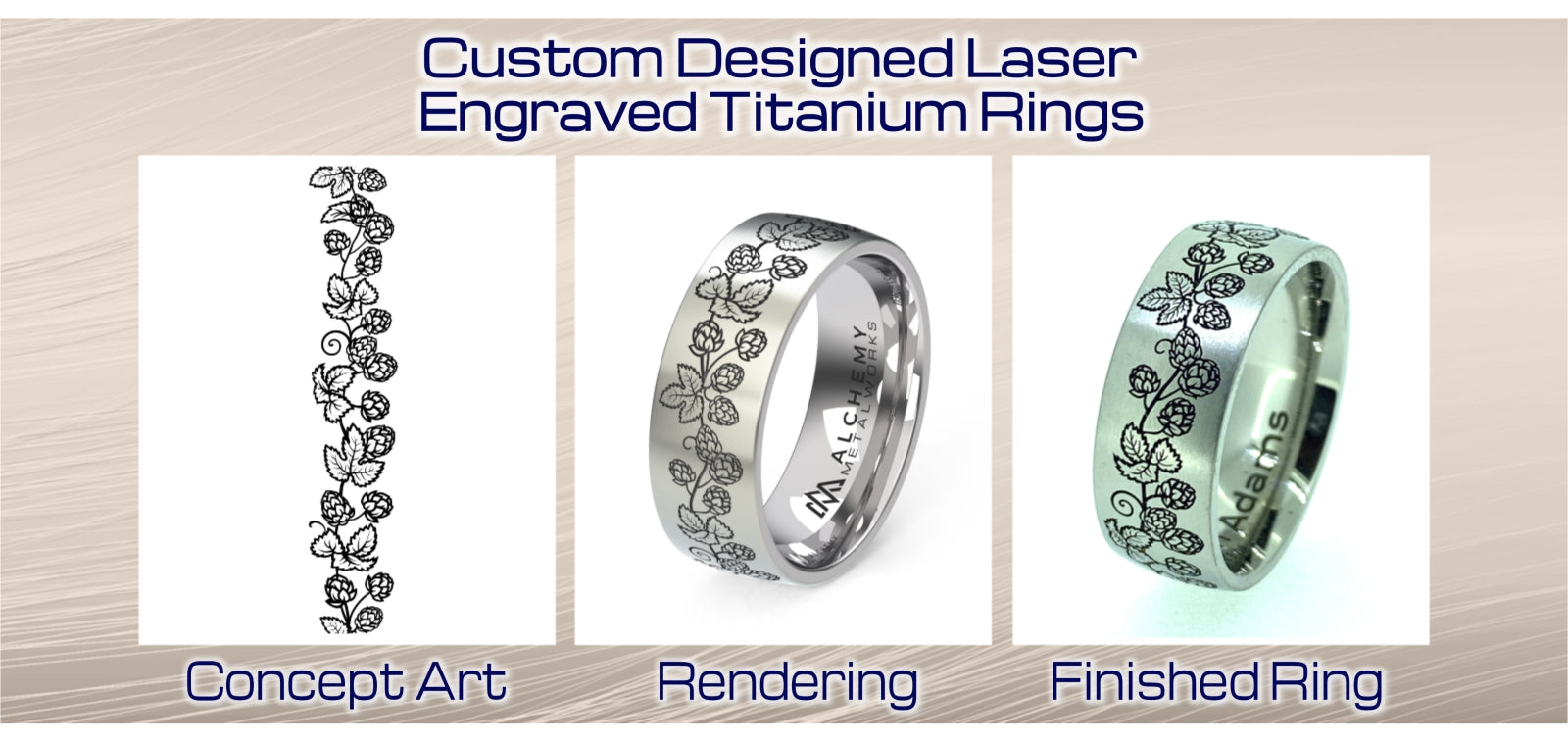 Custom Laser Engraved Titanium Rings and Wedding Bands