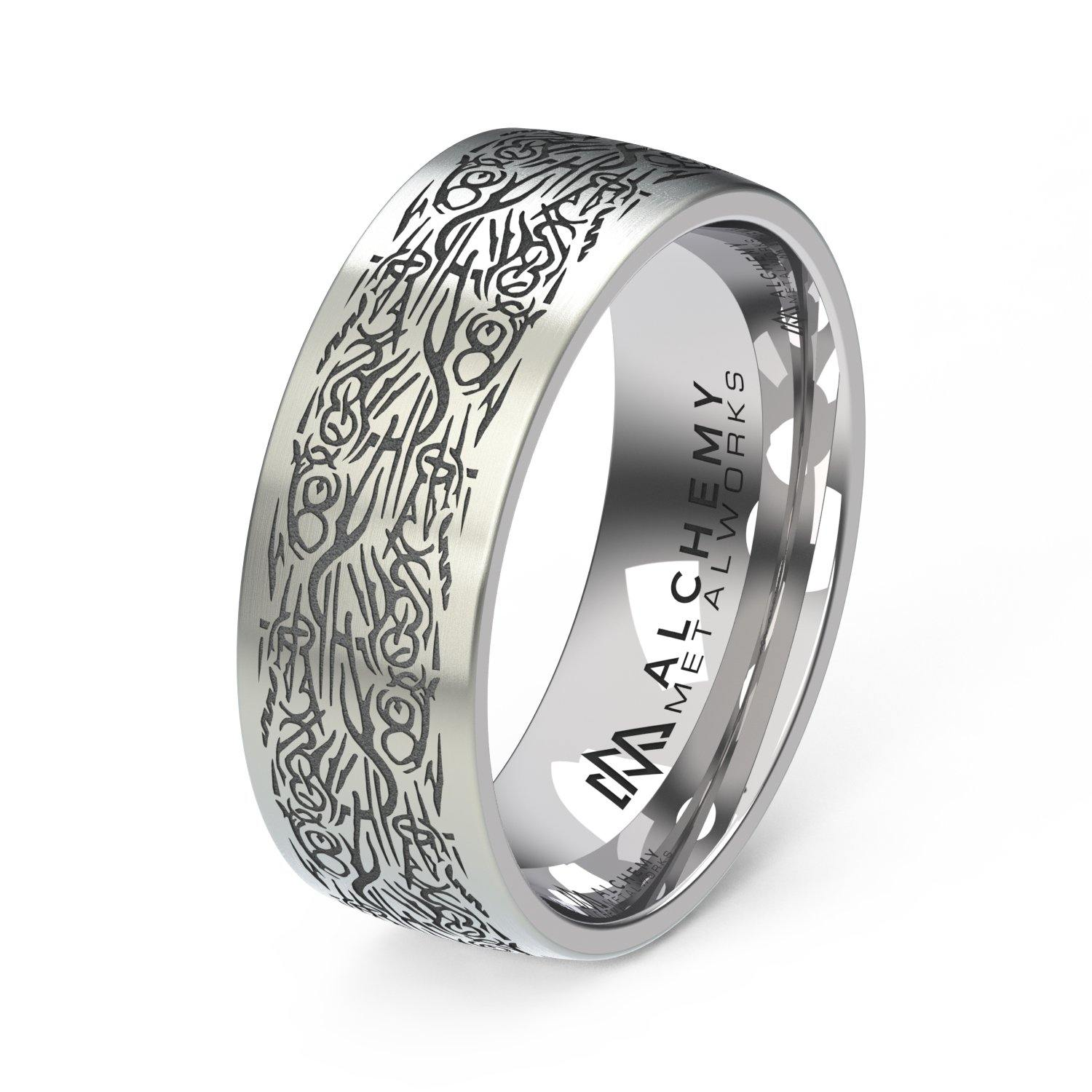 Titanium Engraved Ring - Anarchist