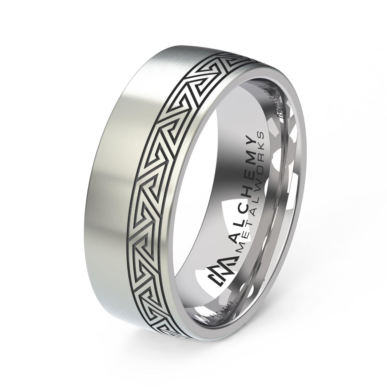 Laser Engraved Titanium Ring - Plexus, Offset