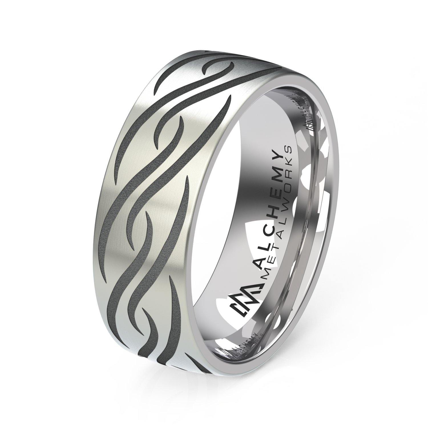 Titanium Engraved Ring - Bohemian Swirls