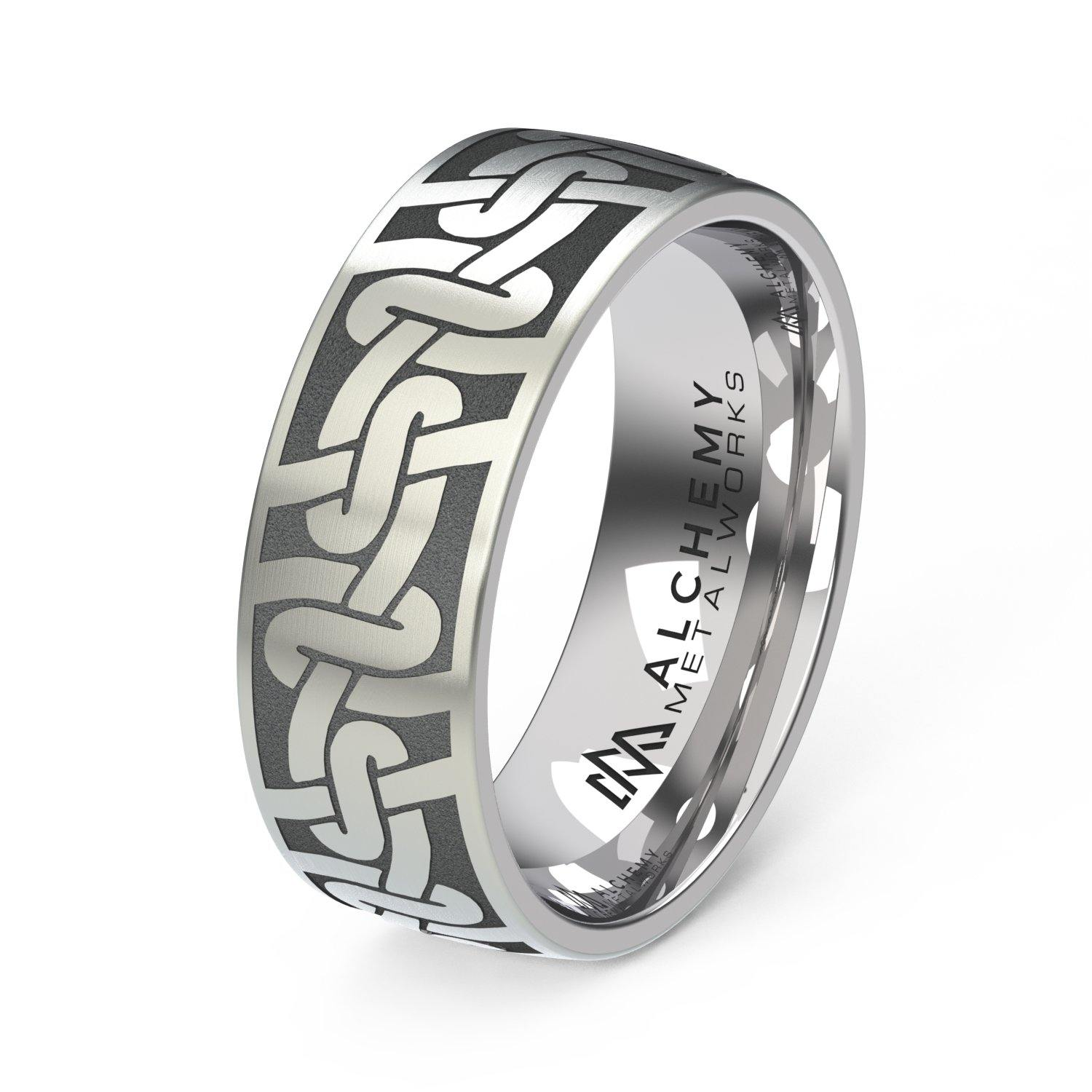 Laser Engraved Titanium Ring - Braided Rope