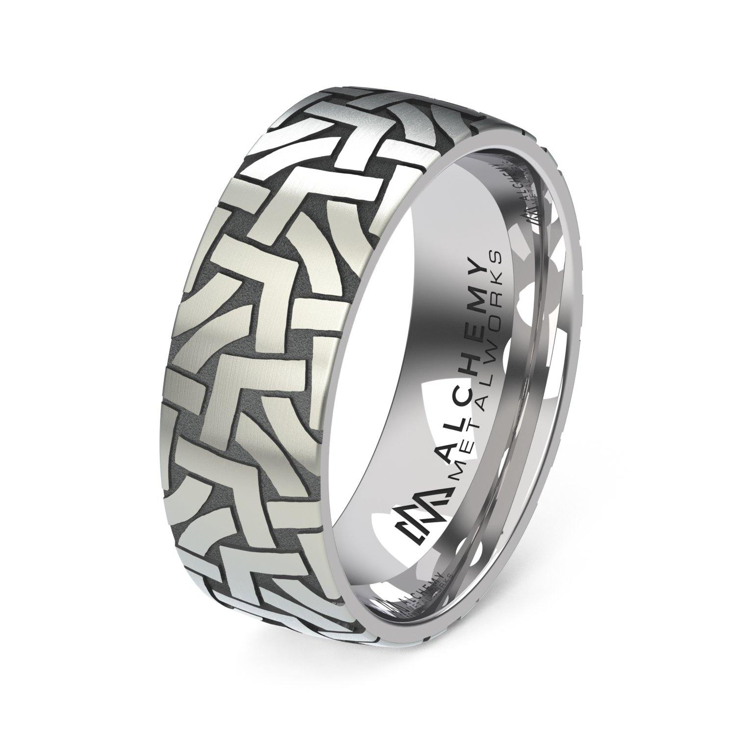 Laser Engraved Titanium Ring - Canted Arches