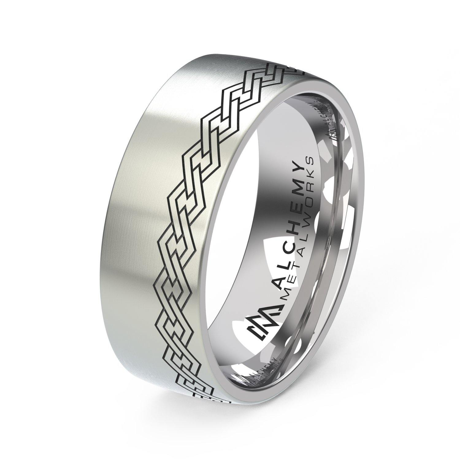 Laser Engraved Titanium Ring - Chain Links, Offset