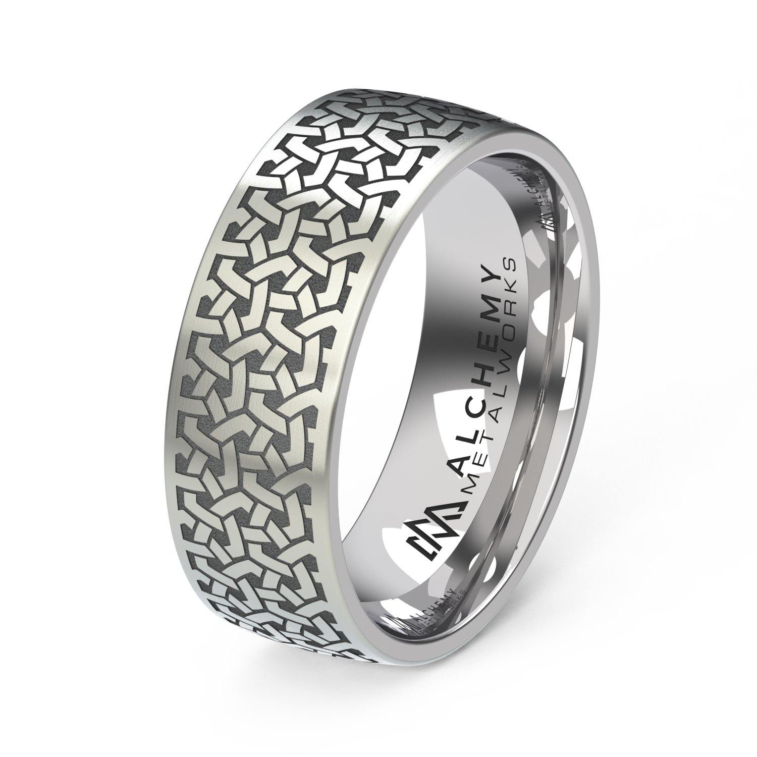 Laser Engraved Titanium Ring - Chain Mail