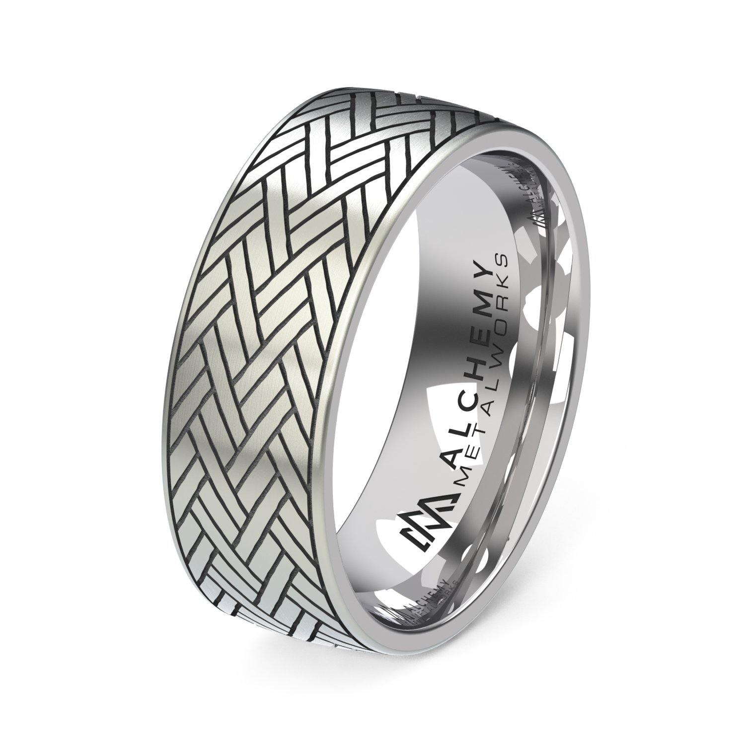 Laser Engraved Titanium Ring - Chevron