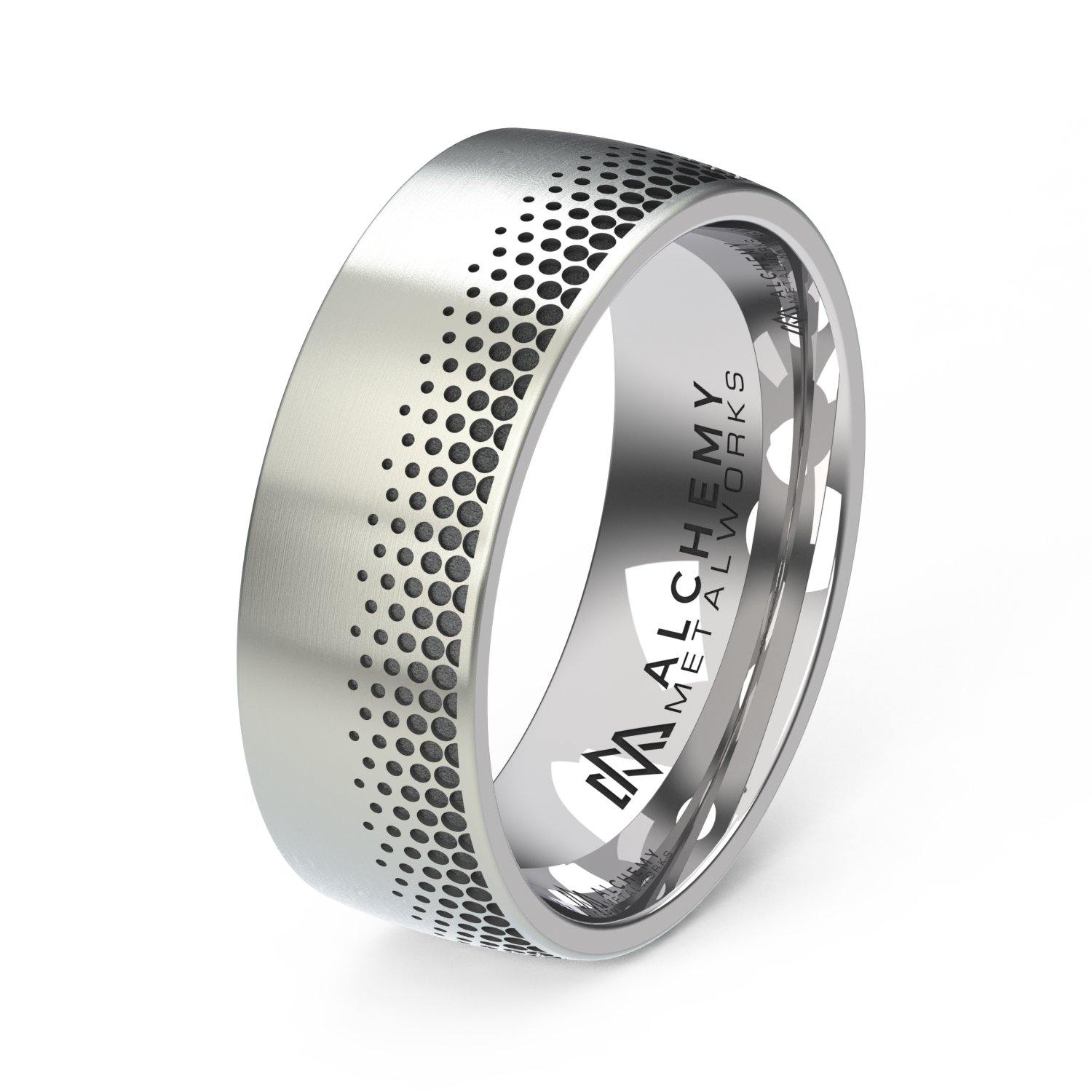 Laser Engraved Titanium Ring - Fade Out, Round Offset