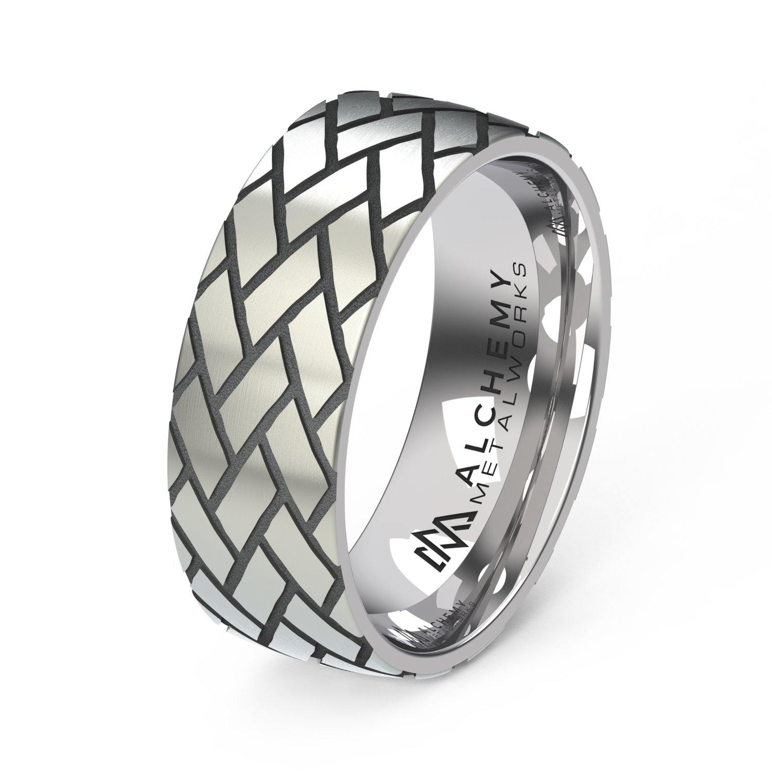 Laser Engraved Titanium Ring - Harringbone