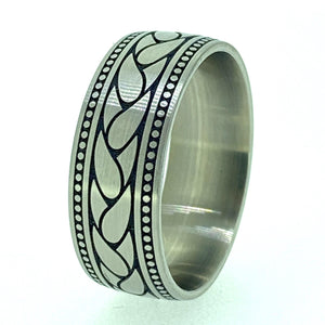 Laser Engraved Titanium Ring - Adorned Paisley - Alchemy Metalworks