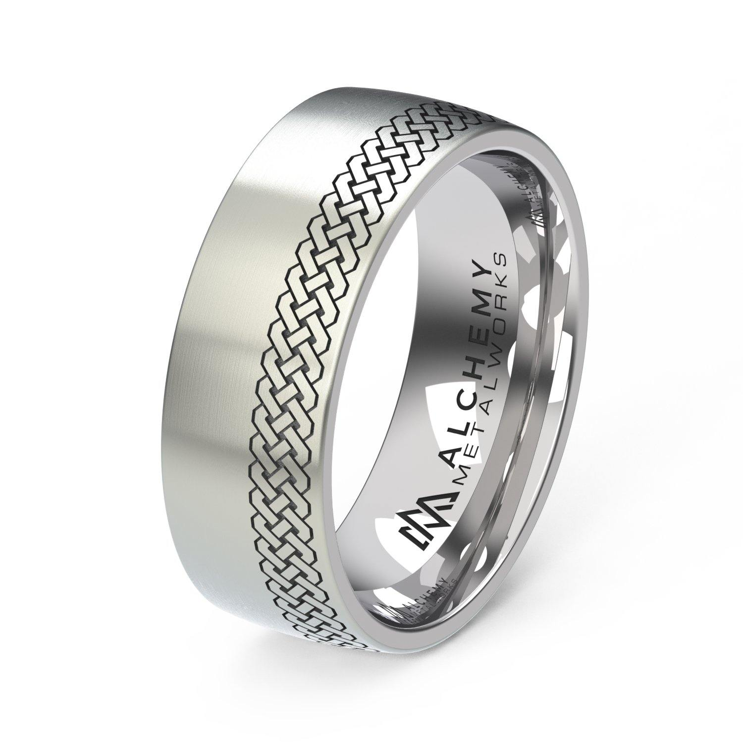 Laser Engraved Titanium Ring - Celtic Knot, Offset