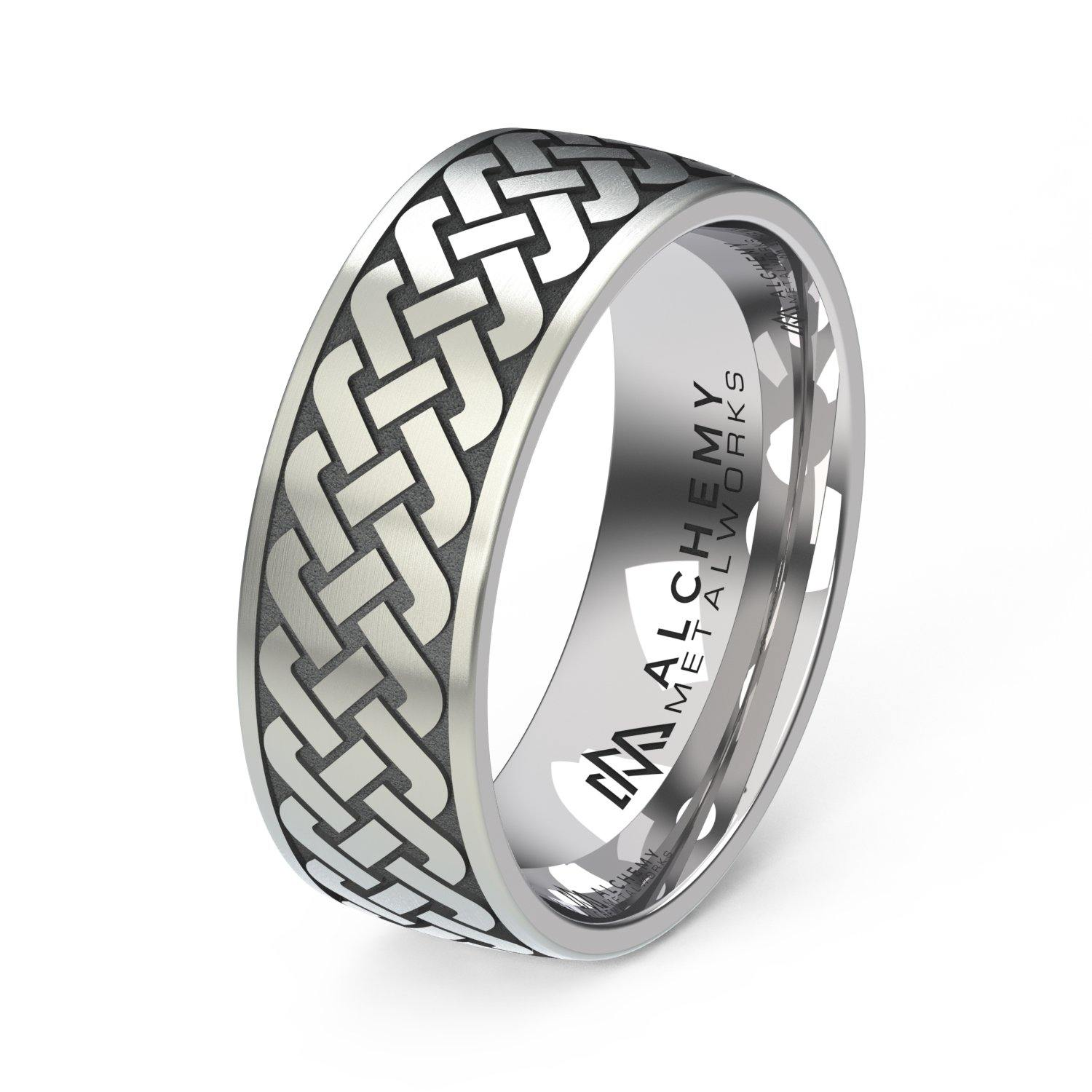 Laser Engraved Titanium Ring - Celtic Knot