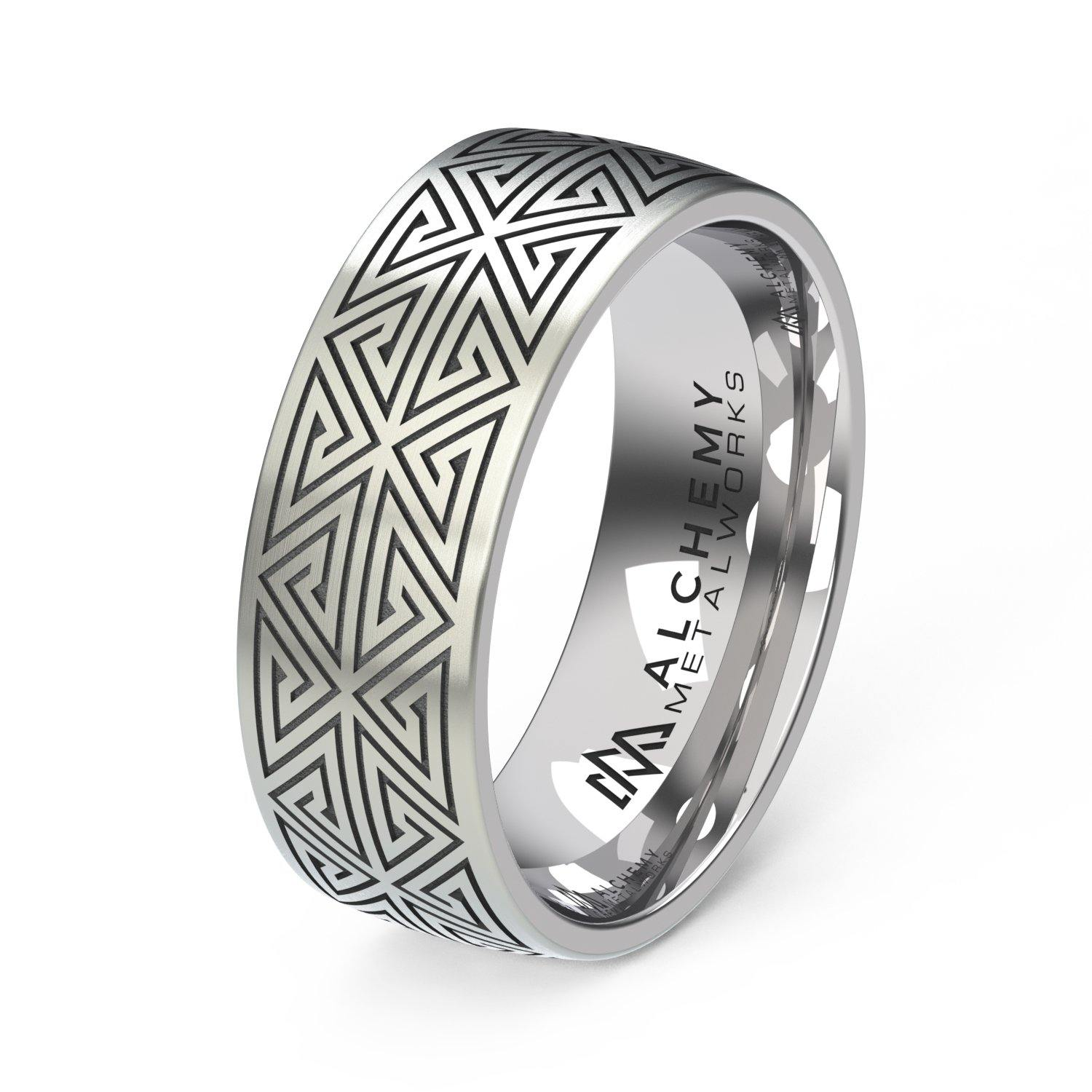Laser Engraved Titanium Ring - Labyrinth