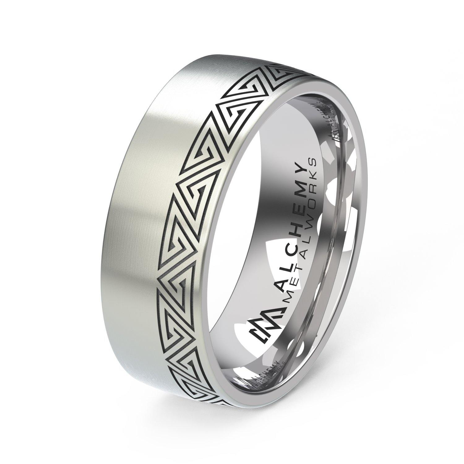 Laser Engraved Titanium Ring - Labyrinth, Offset