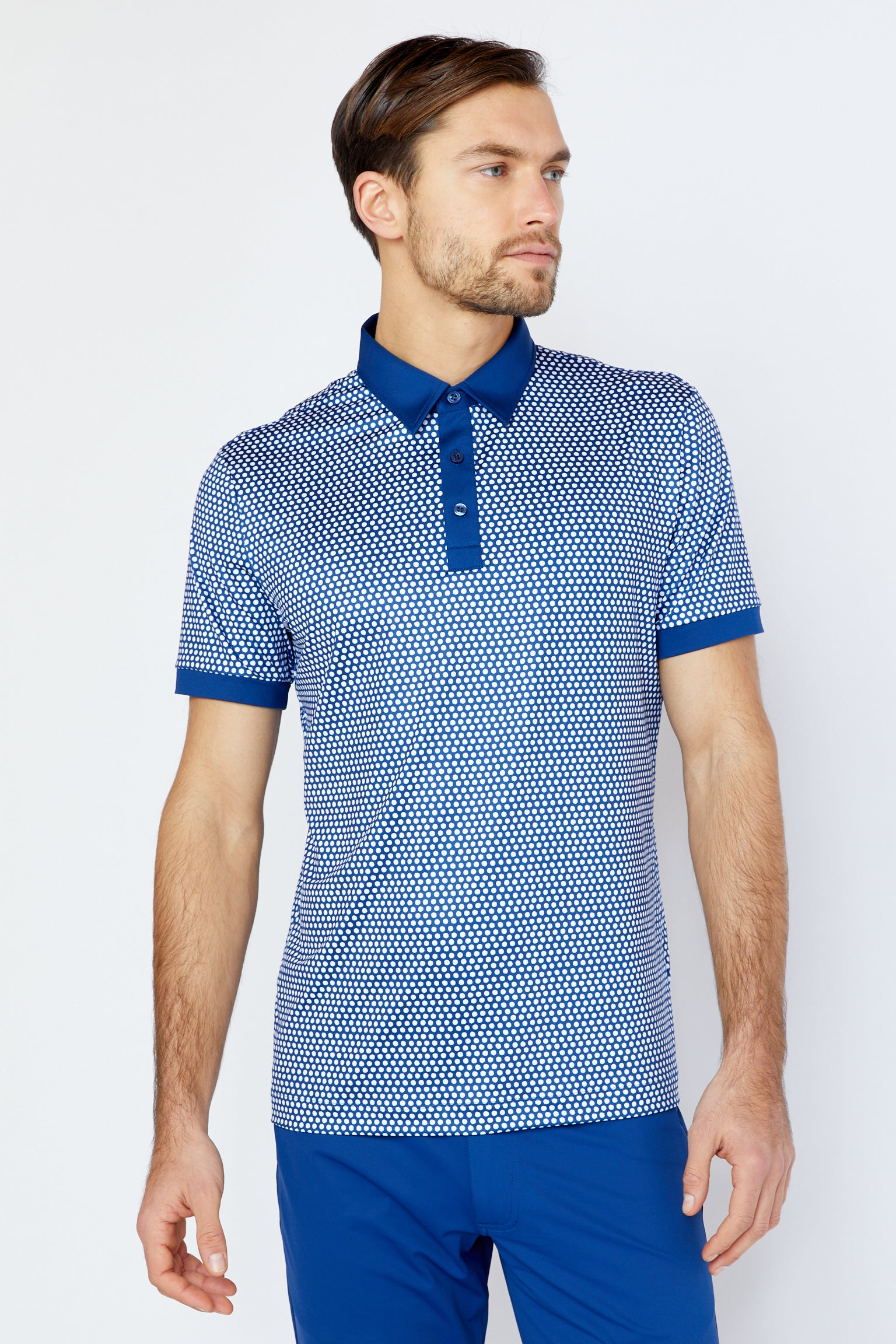 Powell Polo in Estate Blue/White