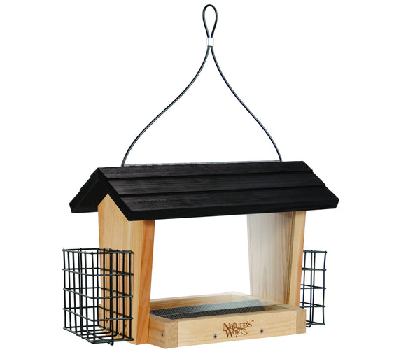 Nature's Way 6 QT Hopper cedar bird Feeder with two Suet Cages