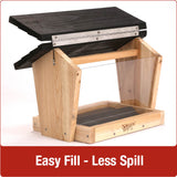 Easy fill-less spill design with no tools required on Nature's Way 6 QT Hopper cedar bird Feeder with two Suet Cages