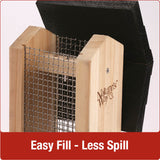 Easy fill-less spill design with no tools required on Nature's Way Vertical Mesh cedar bird Feeder